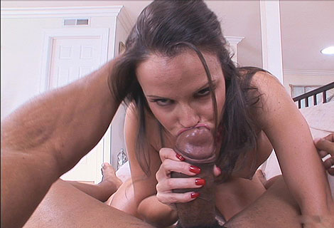 Small titted cock lover Daisy Duxes slobbering on massive blackguard prick