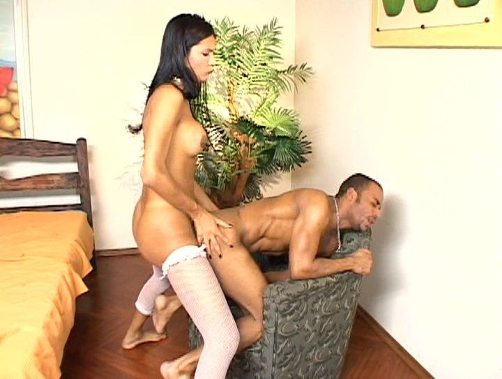 Brunette shemale vigorously fucks her mans tight wet ass