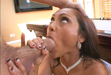 Sexy babe Priya Rai slurps swallows his cock then gets bent over and pussy fucked