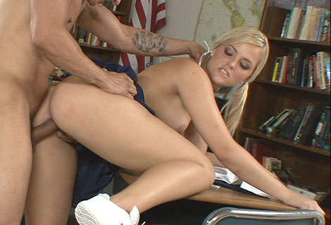 Horny cheerleader Alexis Texas bent over desk getting pussy jammed with cock